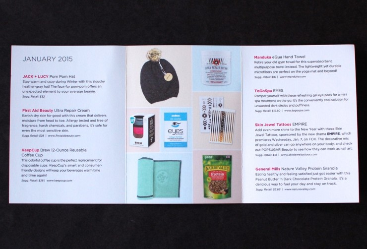 Janaury 2015 Popsugar Must Have box info sheet