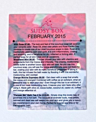 February Sudsy Box info card