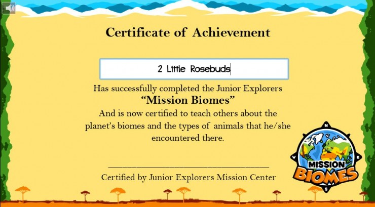 Junior Explorers certificate