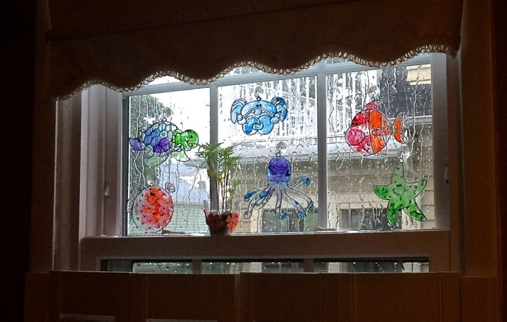 sun catchers in window