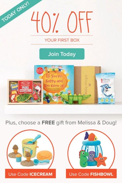 Citrus Lane Flash Sale: 40% Off Plus FREE Melissa & Doug Toy