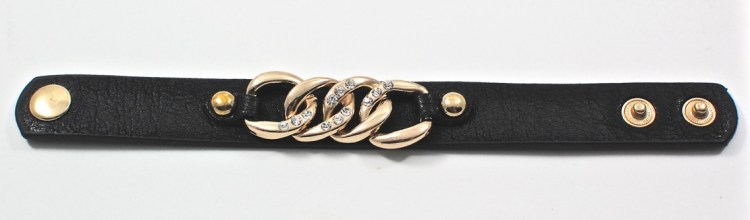 gold chain faux leather bracelet