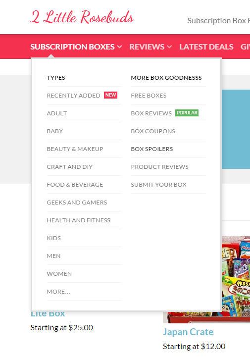 Subscription Boxes menu