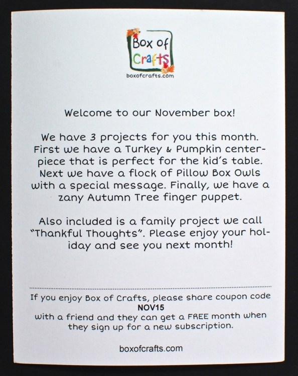 November 2015 Box of Crafts