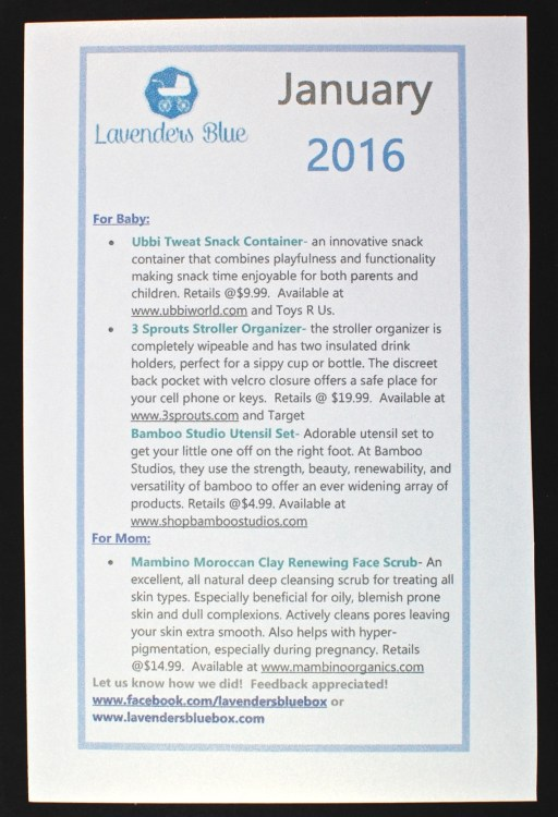 January 2016 Lavenders Blue box