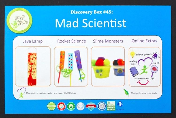 Green Kid Crafts mad scientist box