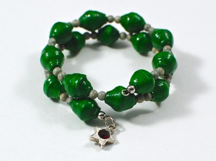 green paper bead bracelet