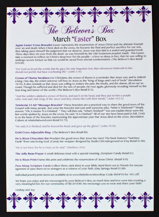 March 2016 The Believer's Box