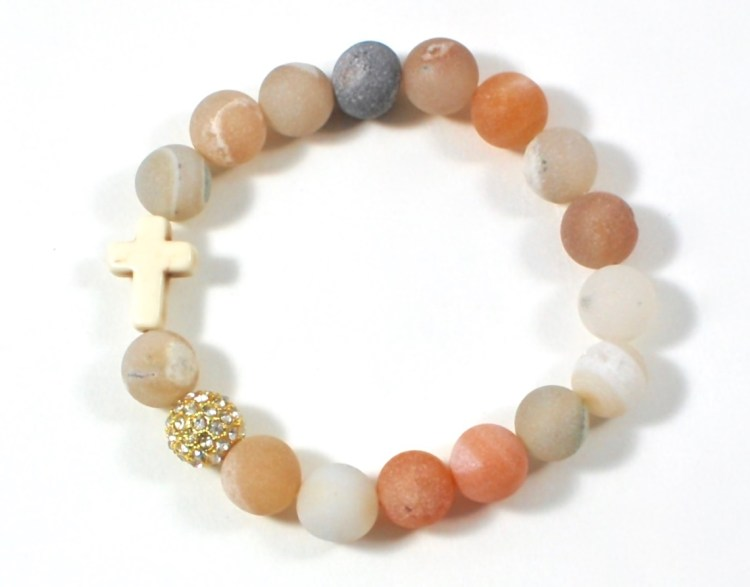 Agate Easter cross bracelet