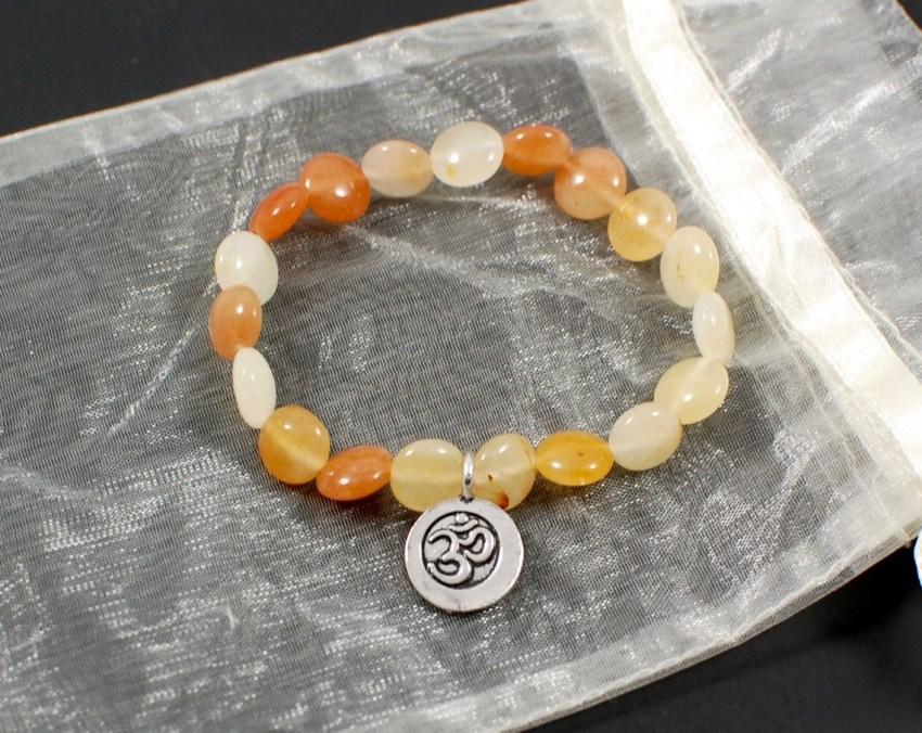 yellow jade om bracelet