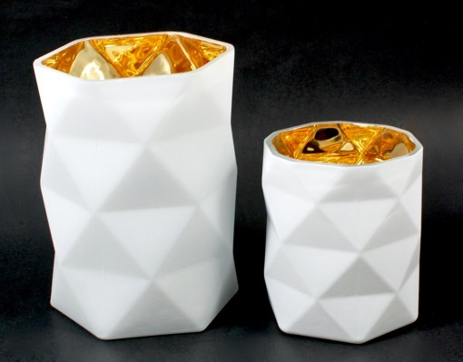 geometric diamond cut candle holders