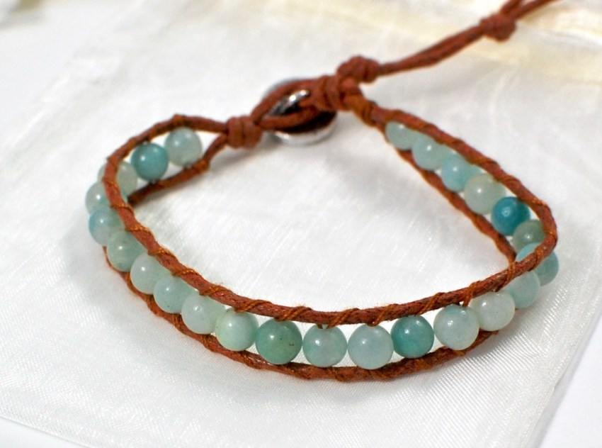 amazonite and hemp bracelet