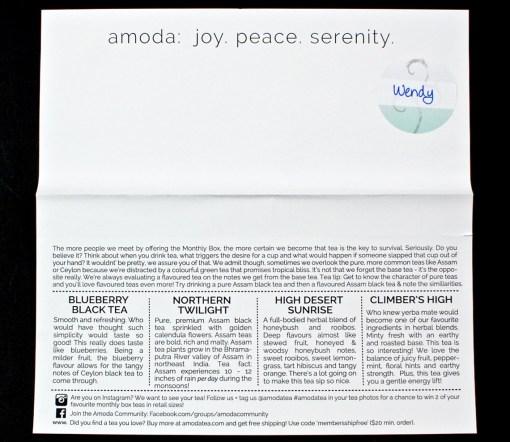 August 2016 Amoda Tea review
