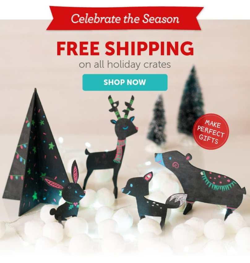 Kiwi Crate FREE Shipping on One-Time Purchase Holiday Crates