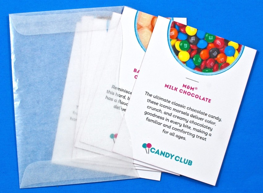 Candy Club selection cards