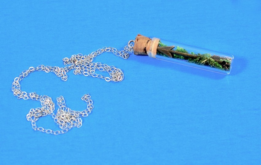 Long Terrarium with Cupid's Arrow Necklace