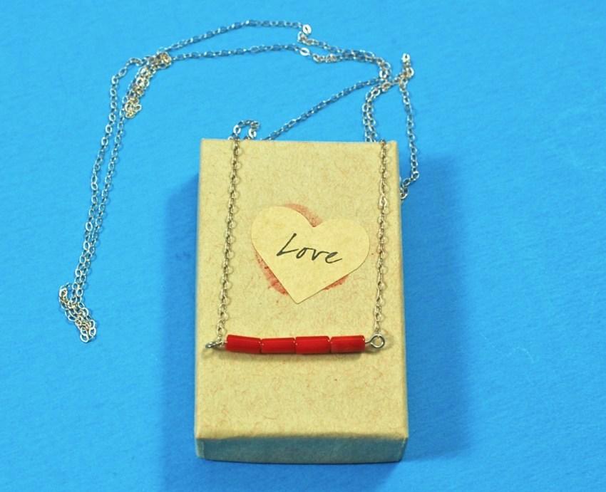 coral sideways necklace