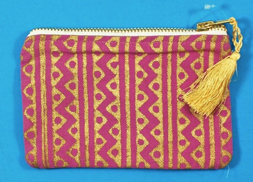 block print coin purse