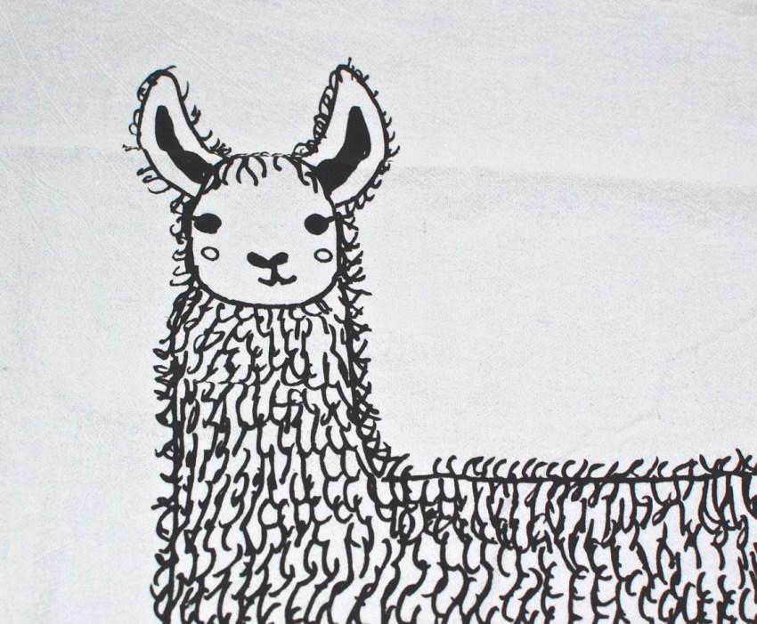llama tea towel