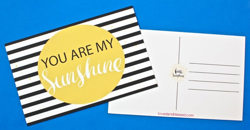 you are my sunshine postcards