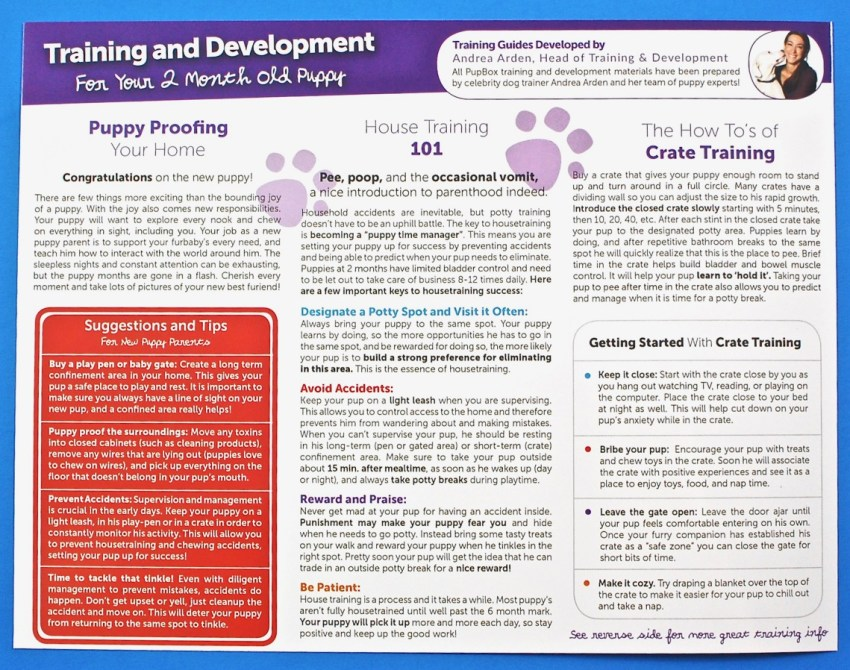 pup box training info