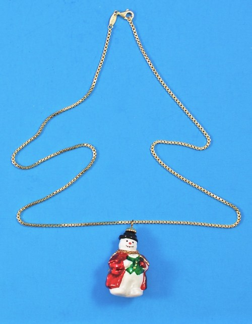 Joy to the World snowman pendant