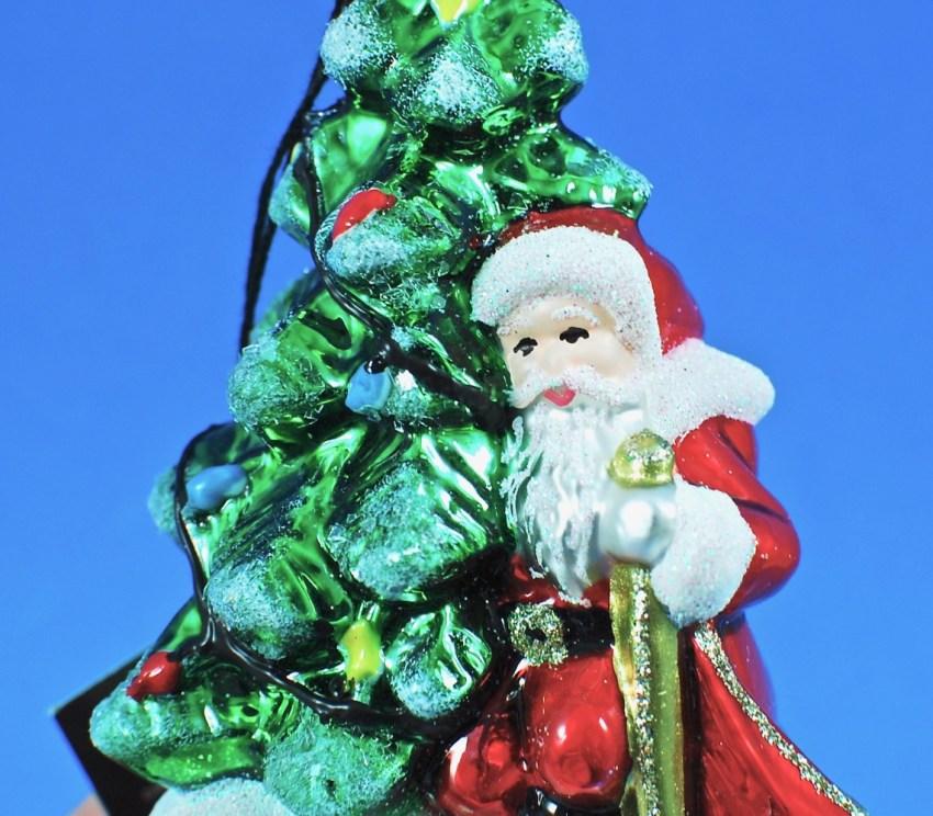 Joy to the World santa ornament