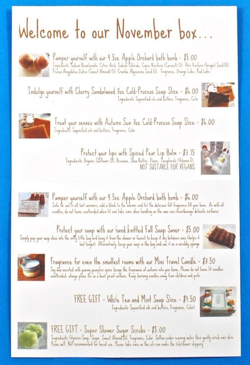 The Pamper Hamper box contents