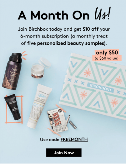 Birchbox Coupon Code – $10 Off 6-Month Subscription