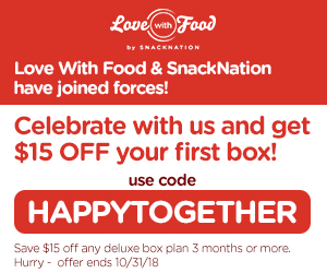 Love With Food SnackNation Sale – Save $15 on a 3-Month Subscription!