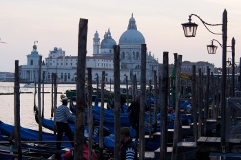 Gondolas tied up with Santa Maria della Salute in the background.