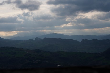 Looking towards the Apennine Mountains from San Marino.