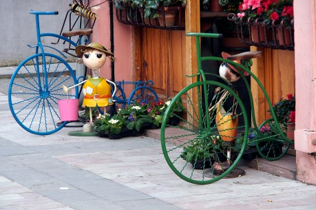 Bicycle decorations outside a flower shop in Shkodra.