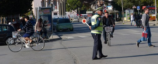 Police controlling traffic in Shkodra.