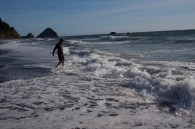 Testing the waters at Arizona Beach.