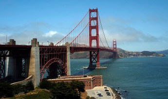 Looking north at the Golden Gate Bridge from San Fransisco near the Presidio.