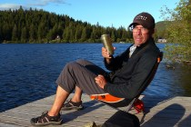 Time for a well-deserved beer at Osprey Lake at the end of our first day.