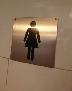 hey the restroom ladies have two legs here!