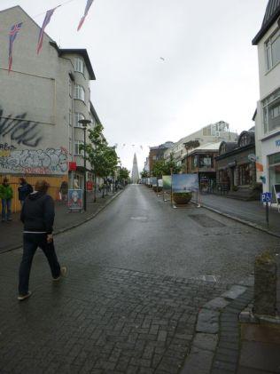 shopping street leading up to Hallgrímskirkja