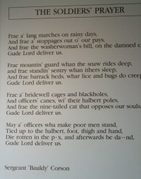 Soldier's Prayer, you can work out the old language.