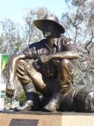 The statue of the Cunnumulla Man - a tribute to the young stockman of years ago.