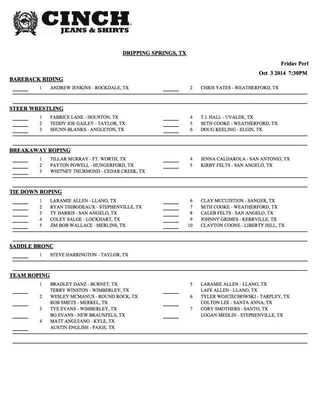 Dripping Springs Day Sheets 1 of 5
