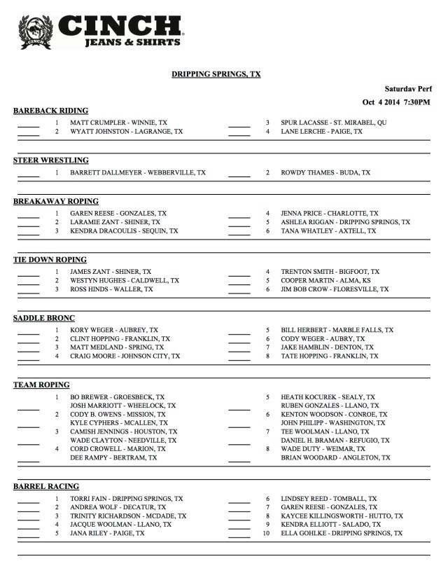 Dripping Springs Day Sheets 4 of 5