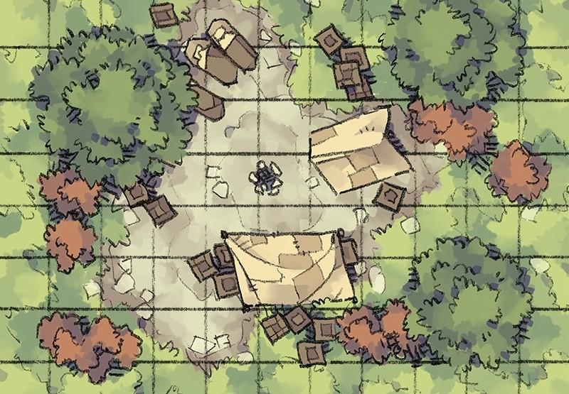 Roadside Camp battle map, gridded