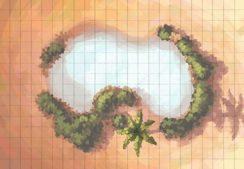Desert Oasis Battle Map, Heavy Grid