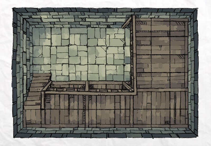 Dungeon Vault Battle Map Tile, stacked