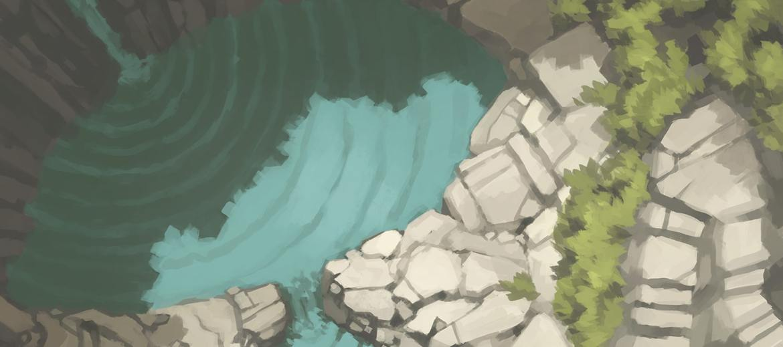 Tranquil Waterfall Battle Map (Banner)