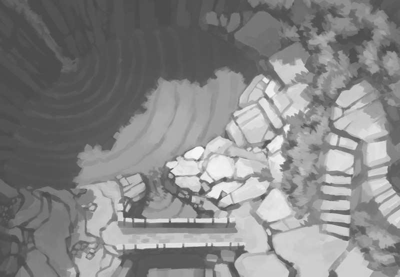 Tranquil Waterfall Battle Map (Black & White)
