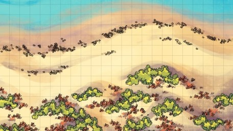 Beach Dunes Battle Map, square grid