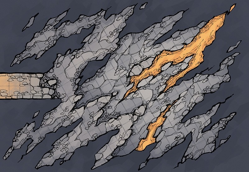 Jagged Cave battle map, square grid